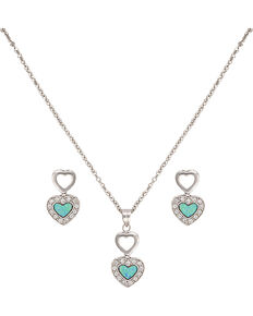 Montana Silversmiths Women's Double Heart Opal Jewelry Set, Silver, hi-res