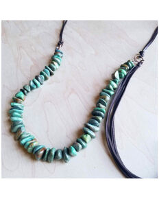 Jewelry Junkie Women's Natural Turquoise Leather Tassel Necklace , Turquoise, hi-res