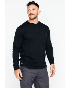 Hawx Men's Pocket Henley Long Sleeve Work Shirt , Black, hi-res