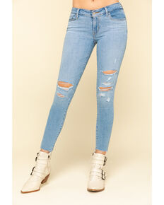 Levi's Women's 711 Light Wash Skinny Distressed Ankle Jeans , Blue, hi-res