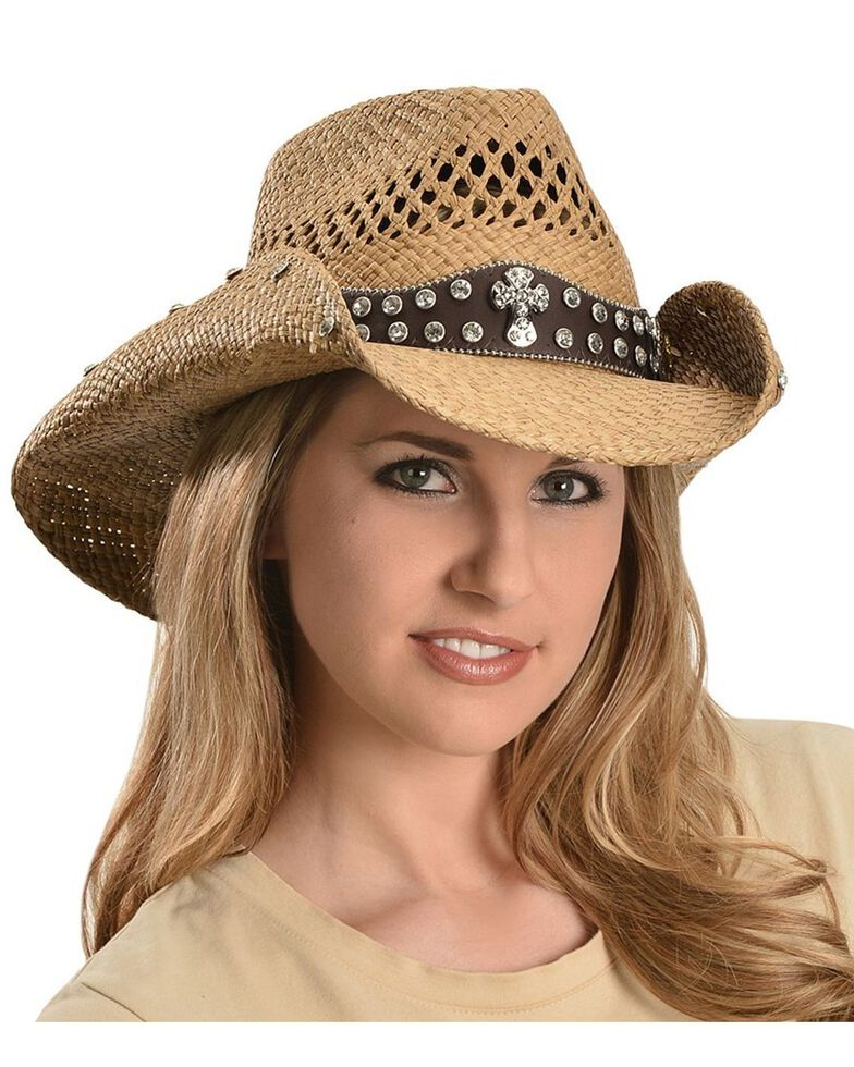 Bullhide Women's More Than Words Straw Hat, Pecan, hi-res
