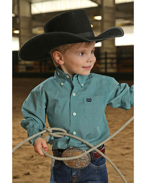 Cinch Infant Boys' Tea Geo Print Long Sleeve Western Shirt , Teal, hi-res