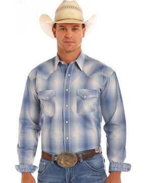 Rough Stock by Panhandle Men's Laconia Vintage Ombre Plaid Shirt, Blue, hi-res