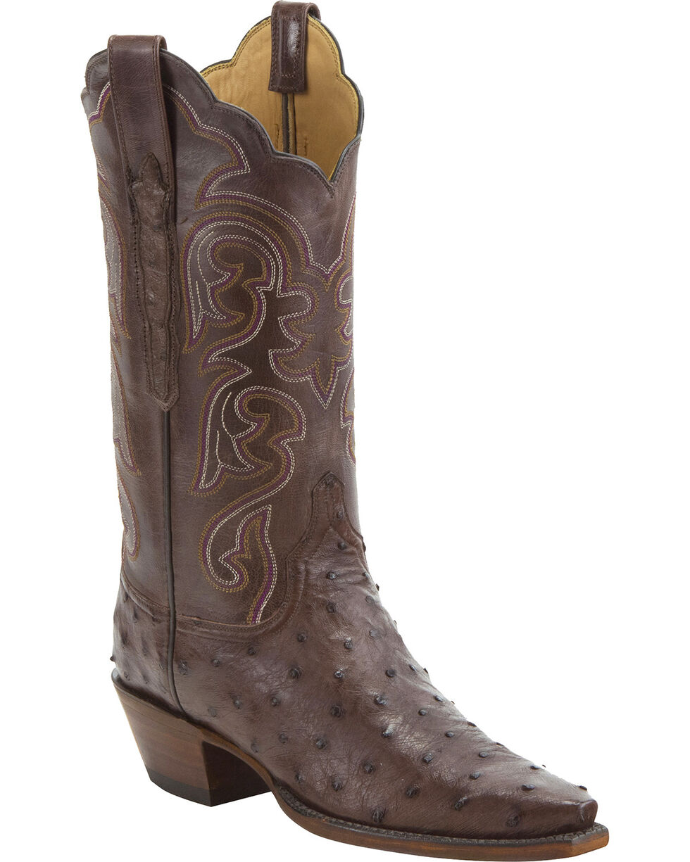 Lucchese Women's Handmade Sienna Audrey Full Quill Ostrich Western Boots - Snip Toe, Tan, hi-res