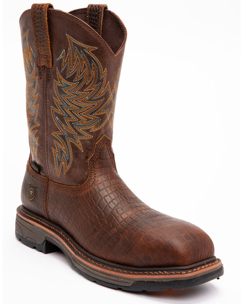 Ariat Brown Croc Print Workhog Work Boots, Brown, hi-res