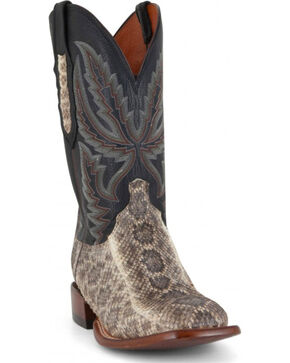 Lucchese Men's Handmade Rattlesnake and Calf Western Boots - Wide Square Toe  , Black, hi-res