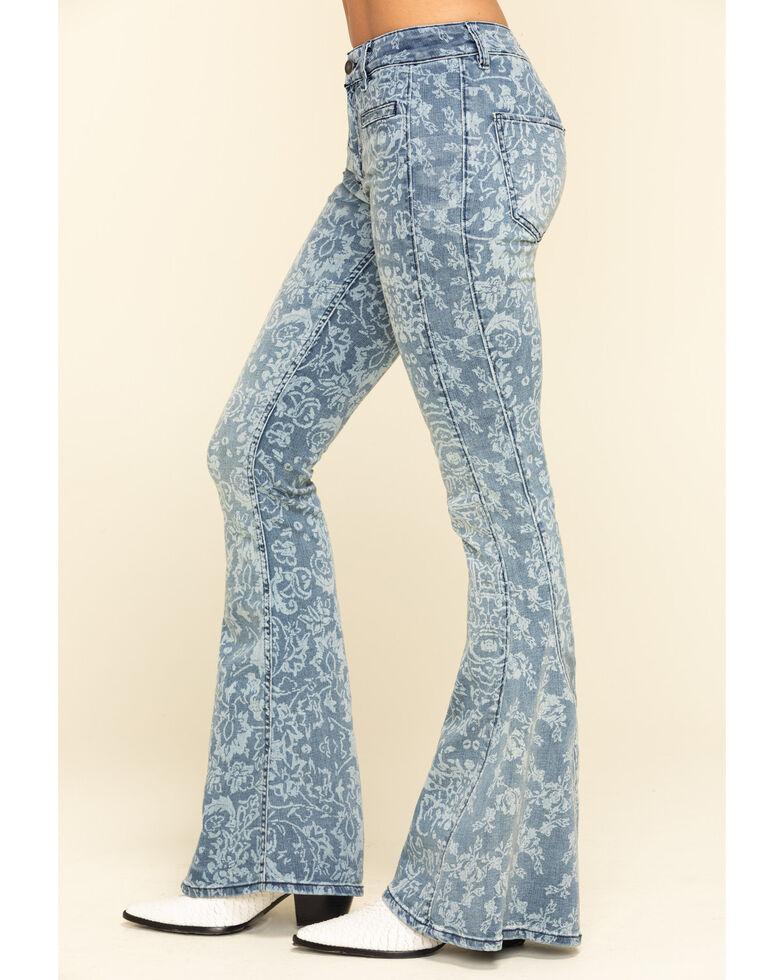Free People Women's Medium Dream Lover Print Flare Jeans , Blue, hi-res