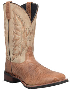 Laredo Men's Brown Shoulder Western Boots - Wide Square Toe, Brown, hi-res