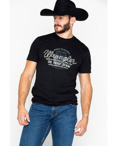 Wrangler Men's Barrel 100 Proof Denim Graphic T-Shirt, Black, hi-res
