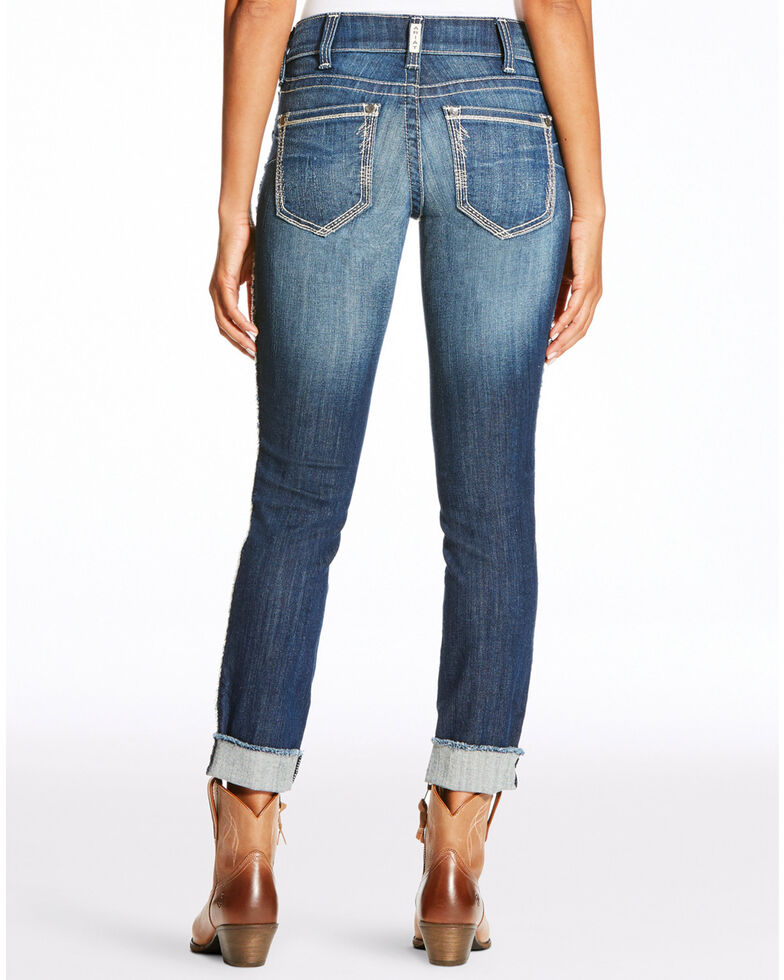 Ariat Women's R.E.A.L. Skinny Leg Fray Jeans , Blue, hi-res