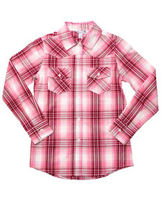 Shyanne Girls' Lurex Plaid Core Long Sleeve Western Shirt , Pink, hi-res
