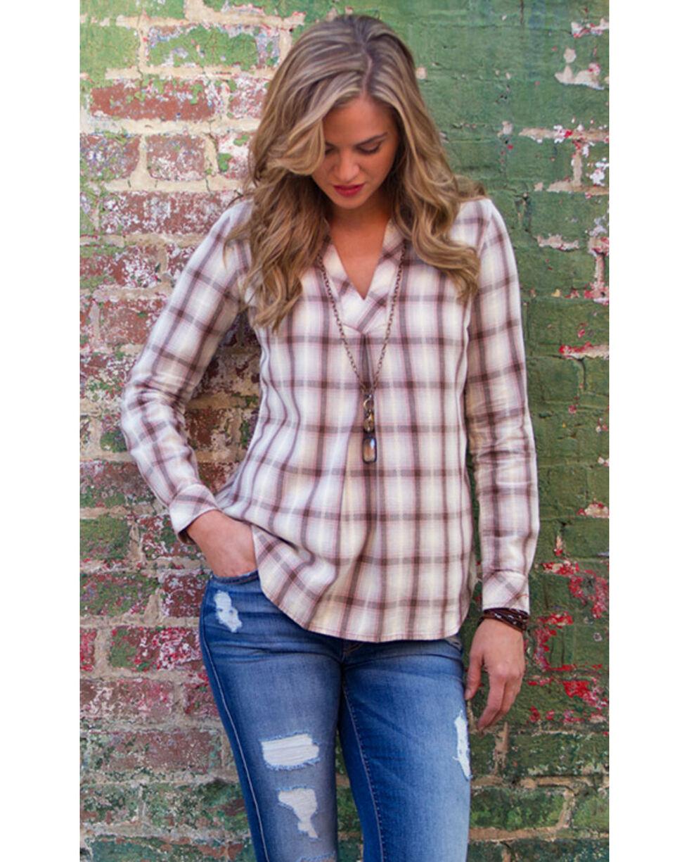 Ryan Michael Women's Sonora Desert Plaid Shirt , Cream, hi-res