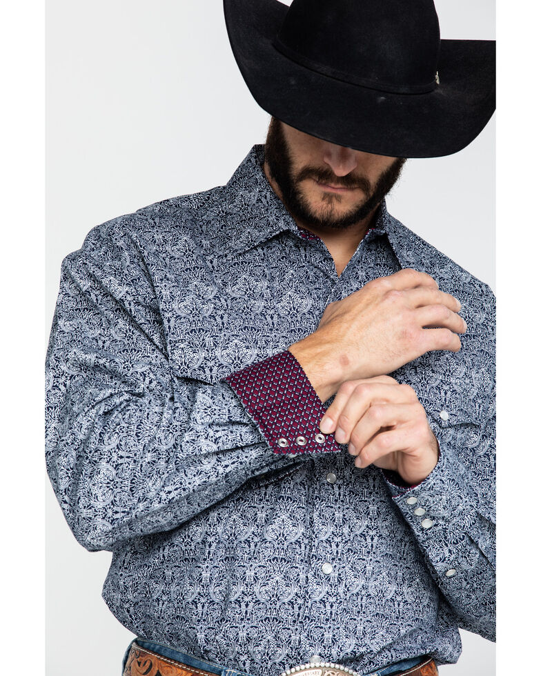 Stetson Men's Classic Victorian All Over Floral Print Long Sleeve Western Shirt , Blue, hi-res