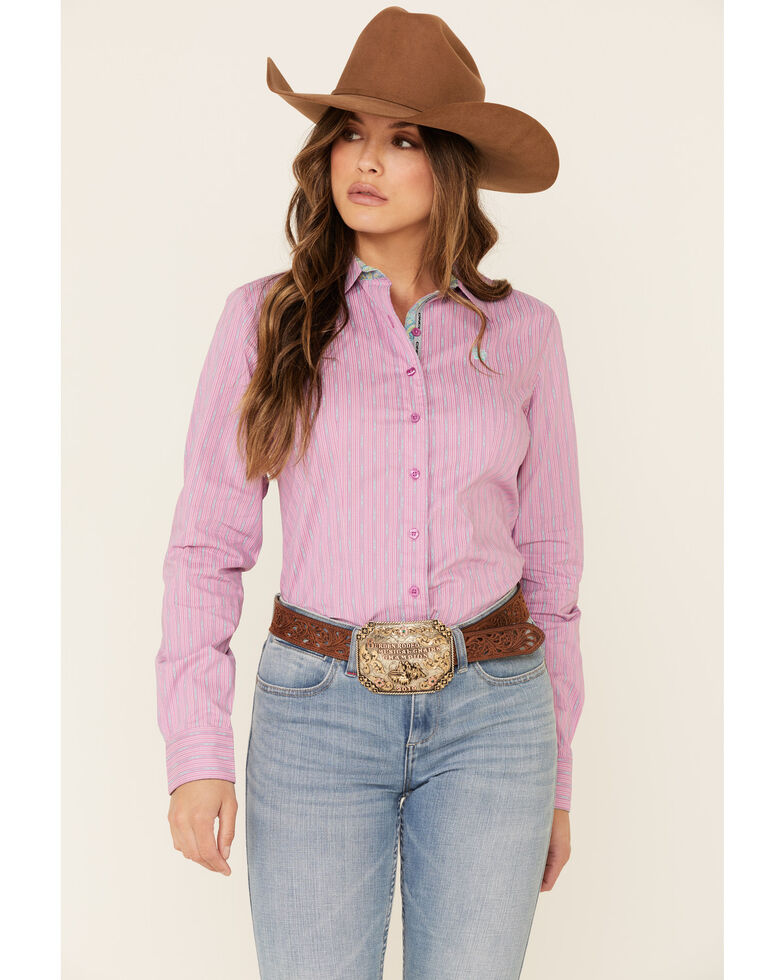 Cinch Men's Pink Geo Striped Button Front Long Sleeve Western Shirt , Pink, hi-res