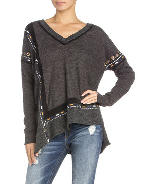 Miss Me Women's Embroidered V-Neck Top, Dark Grey, hi-res