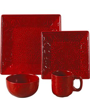 HiEnd Accents Savannah Red Dinnerware Set, Red, hi-res