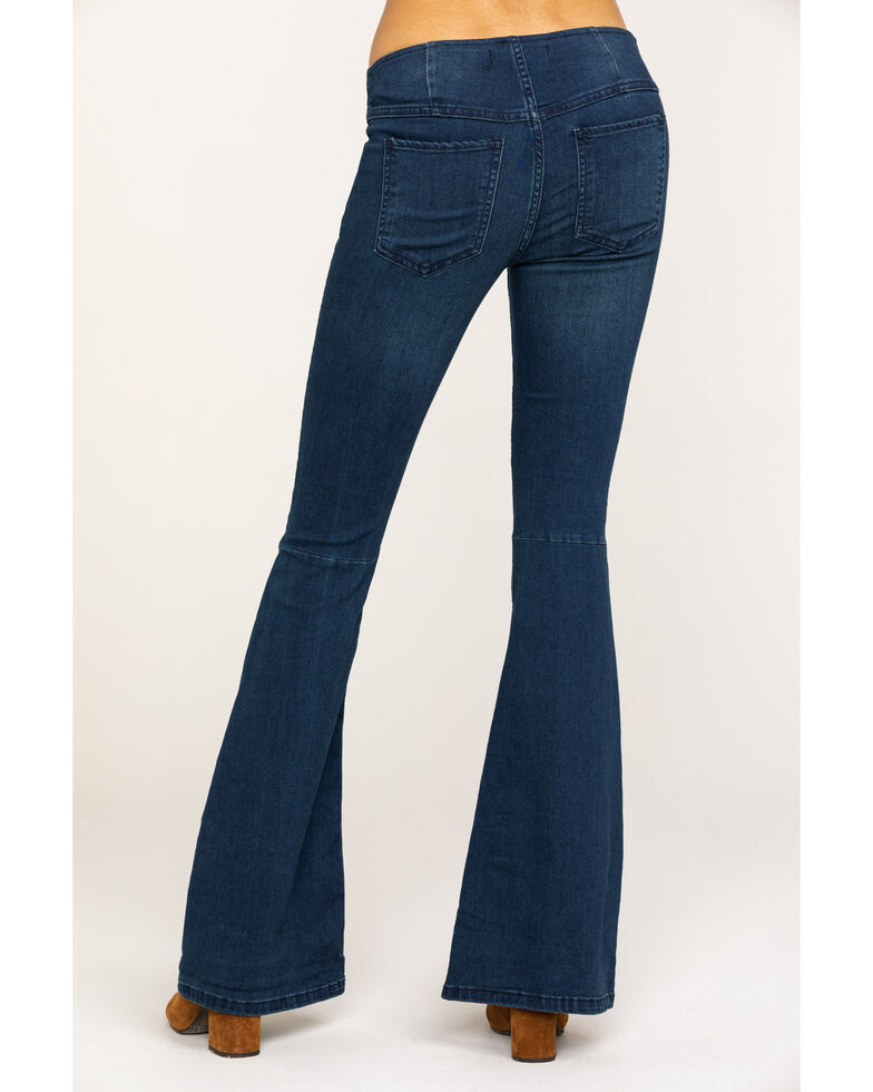 Free People Women's Dark Blue Flare Penny Pull On Jeans, Blue, hi-res