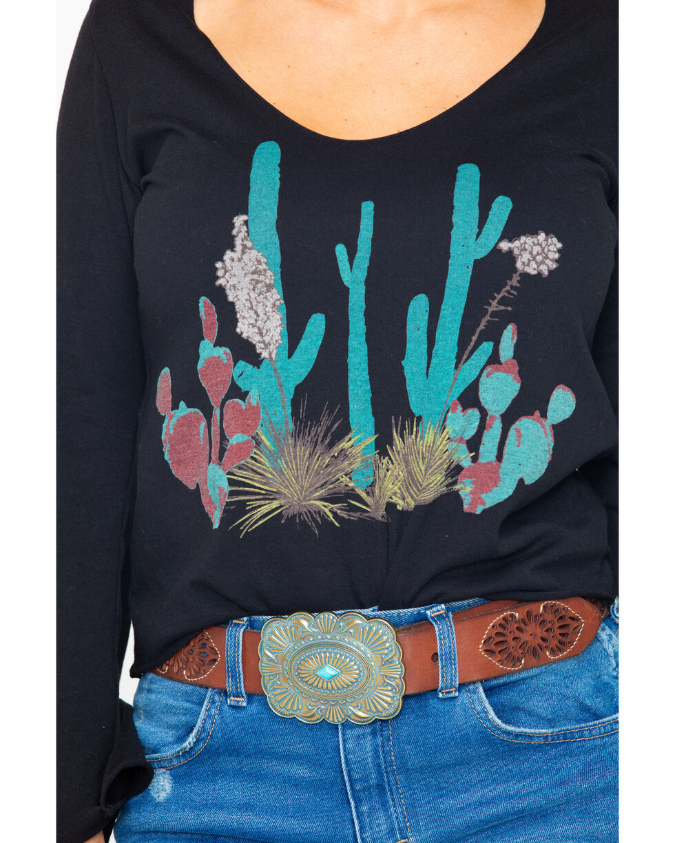 Rock & Roll Cowgirl Women's Bright Desert Plant Top, Black, hi-res
