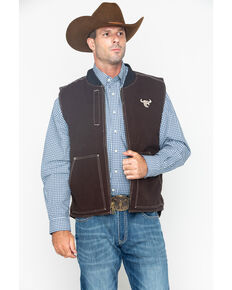 Cowboy Hardware Men's Zip-Up Workwear Logo Vest , Brown, hi-res