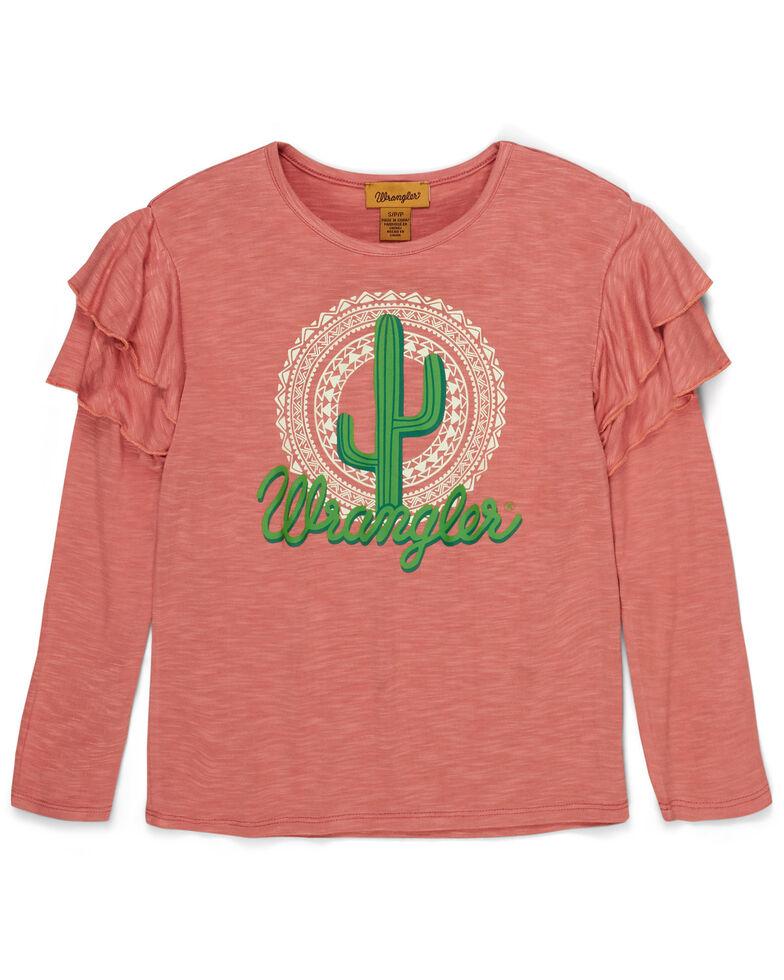 Wrangler Girls' Pink Cactus Logo Long Ruffle Sleeve Top , Pink, hi-res