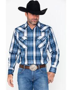 Ely Cattleman Men's Textured Large Plaid Shirt , Blue, hi-res