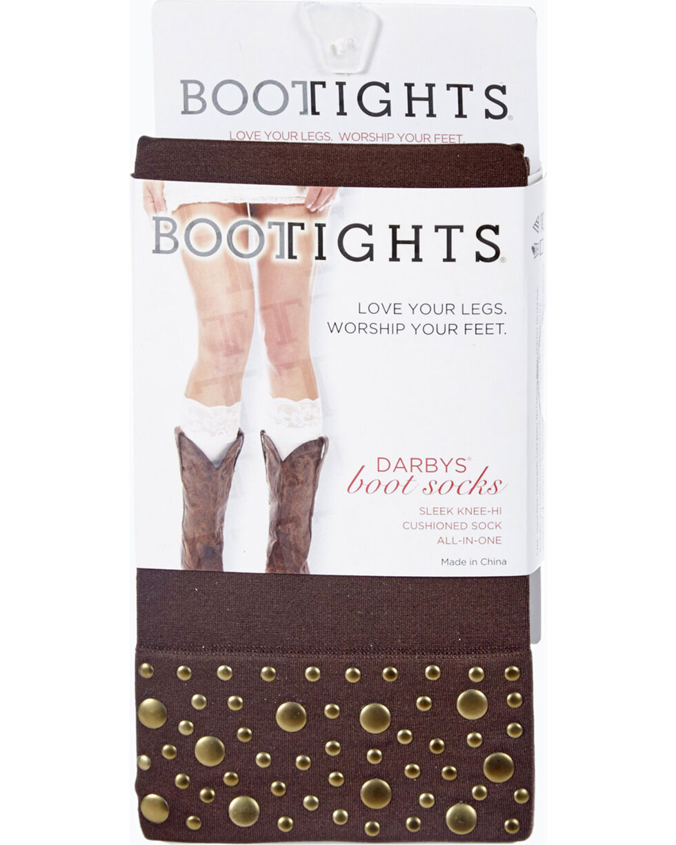 Darby's Women's Nikki Nailhead Boot Socks, Chocolate, hi-res