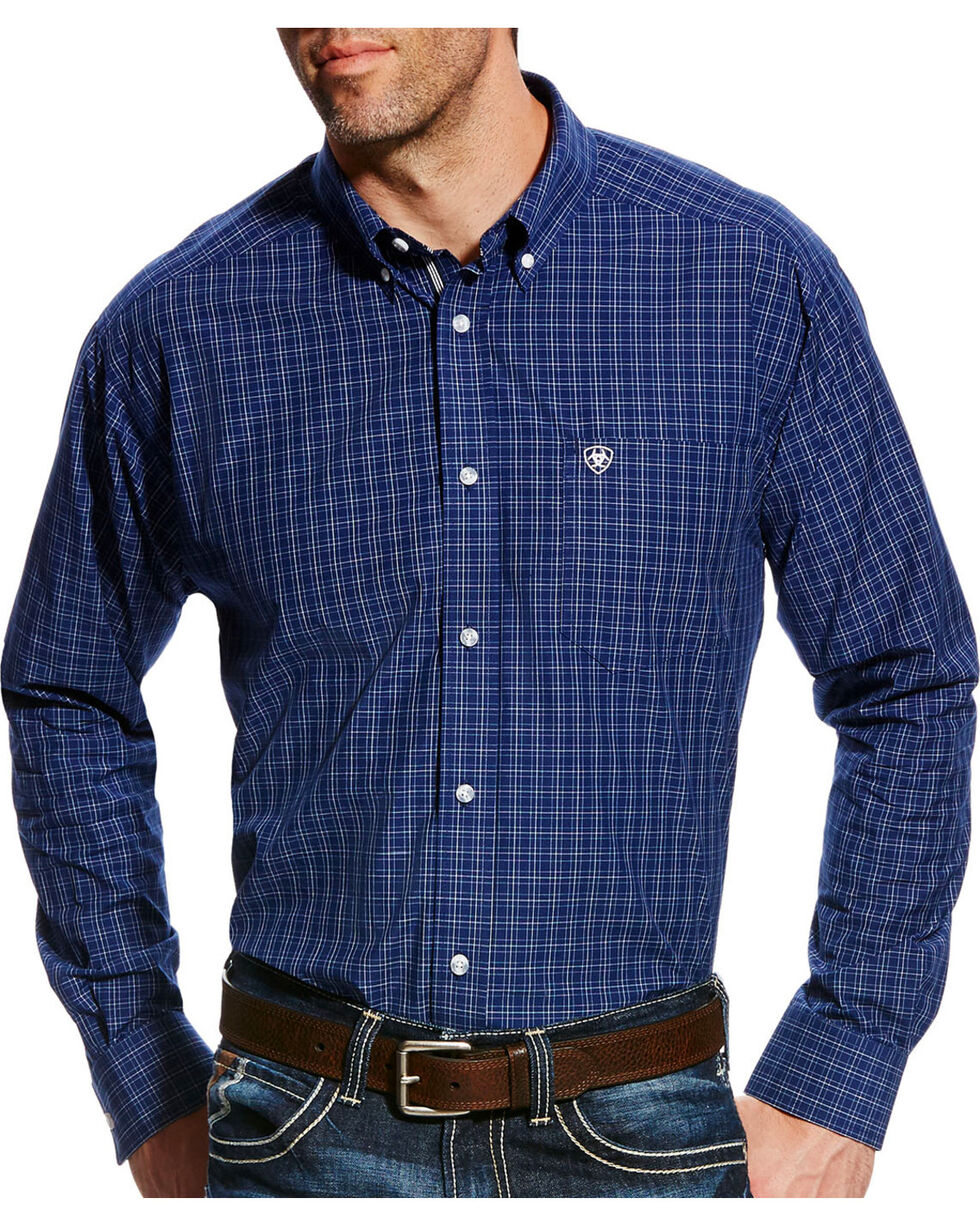 Ariat Men's Pro Series Gage Plaid Long Sleeve Button Down Shirt, Blue, hi-res