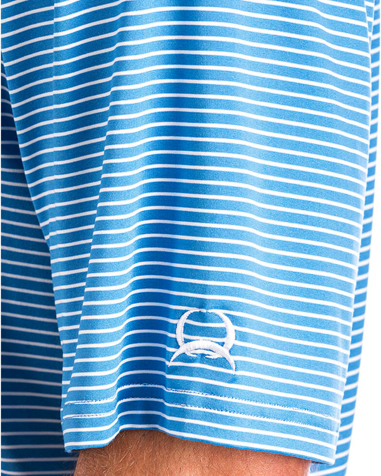 Cinch Men's ArenaFlex Blue Striped Athletic Short Sleeve Polo Shirt , Blue, hi-res