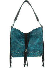 Savana Women's Tooled Concealed Carry Handbag, Turquoise, hi-res