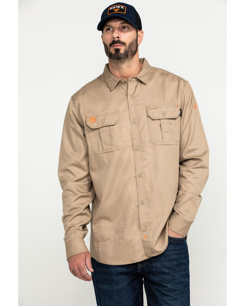 Hawx Men's Khaki FR Long Sleeve Woven Work Shirt - Big , Beige/khaki, hi-res