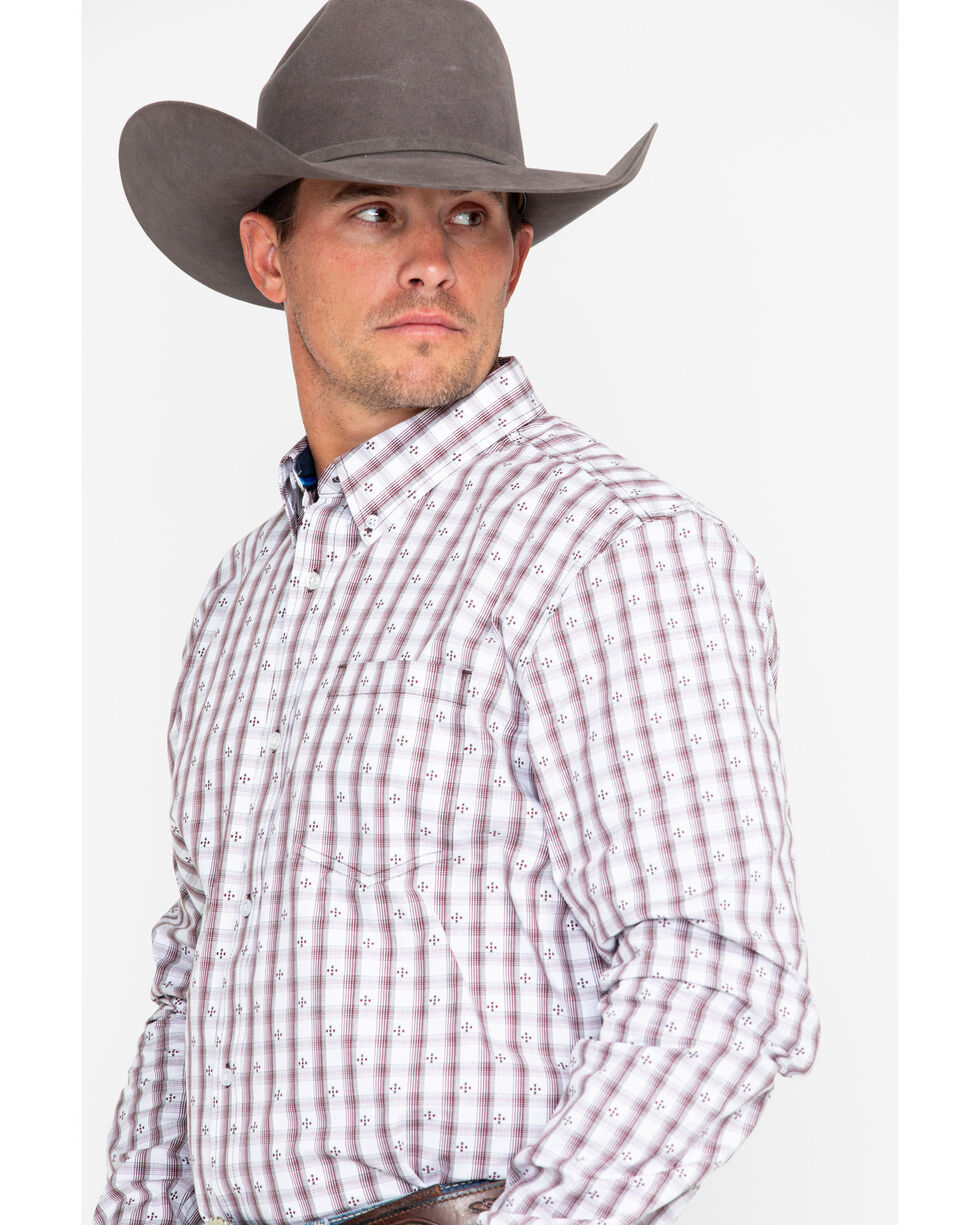 Cody James Men's Side Step Plaid Long Sleeve Western SHirt, Brown, hi-res