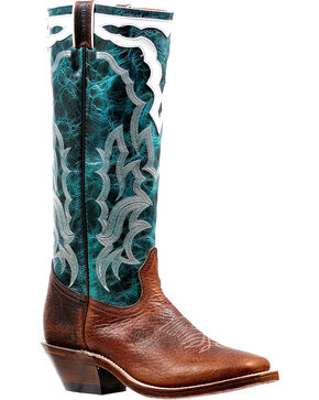 "Boulet Men's 16"" Faraon Turqueza Horseman Tall Cowboy Boots - Square Toe, Brown, hi-res"