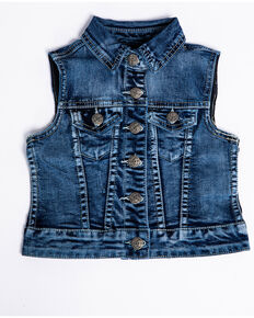 Silver Girls' Leah Medium Denim Vest , Indigo, hi-res