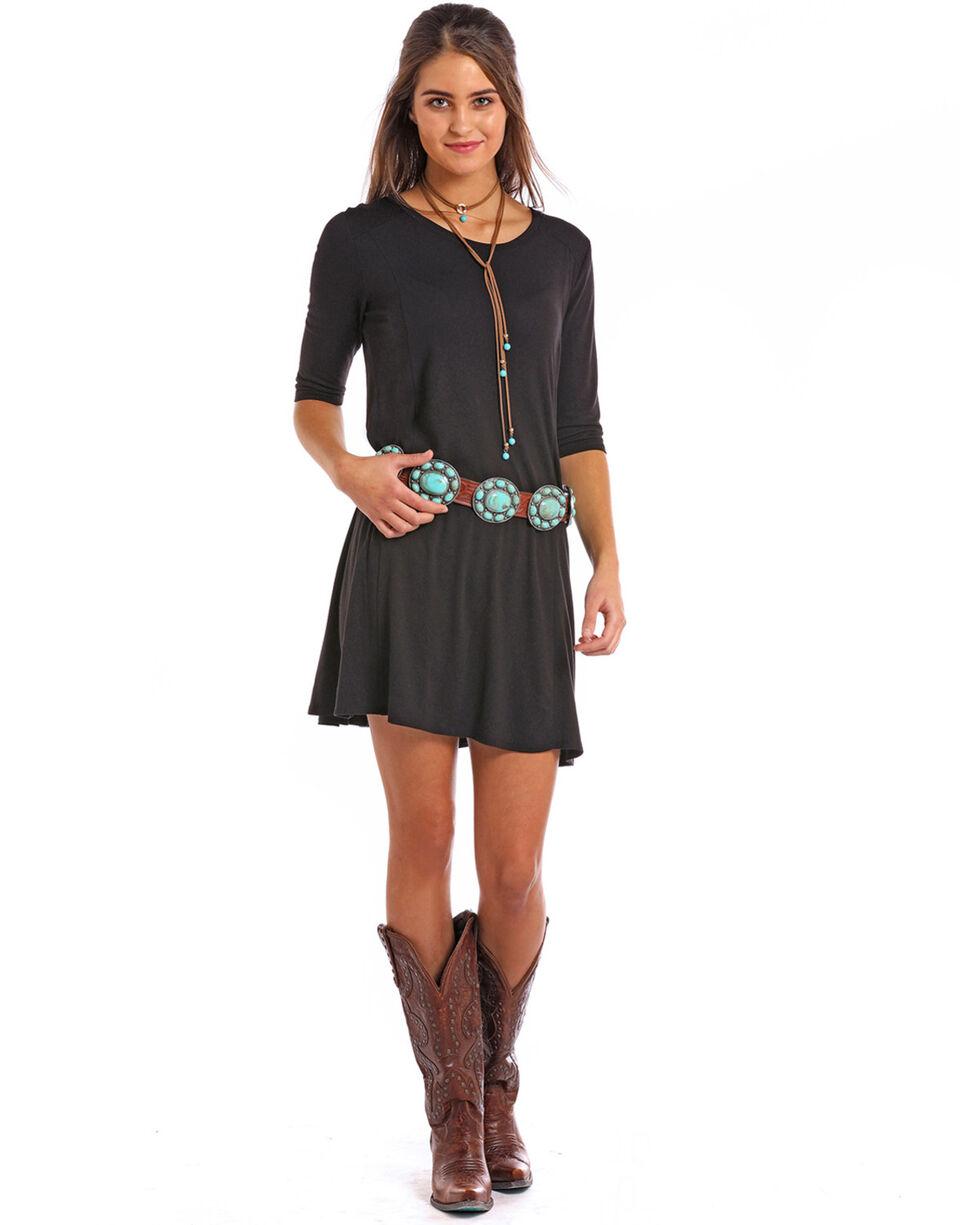 Panhandle Women's Solid Knit Long Sleeve Dress, Black, hi-res