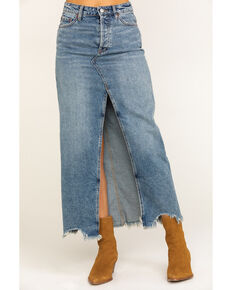 Free People Women's Rhiannon Denim Maxi Skirt, Blue, hi-res