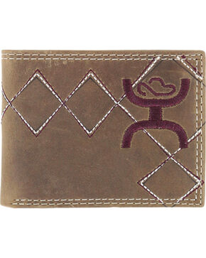 HOOey Men's Embroidered Bi-Fold Wallet, Brown, hi-res