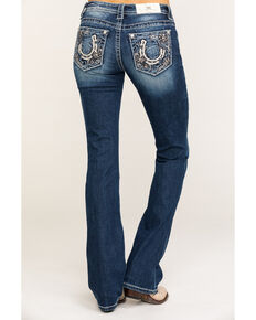 Miss Me Women's Whimsical Horseshoe Chloe Bootcut Jeans , Blue, hi-res