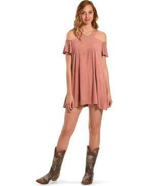 Jody of California Women's Pink Cold Shoulder Micro Suede Dress , Pink, hi-res