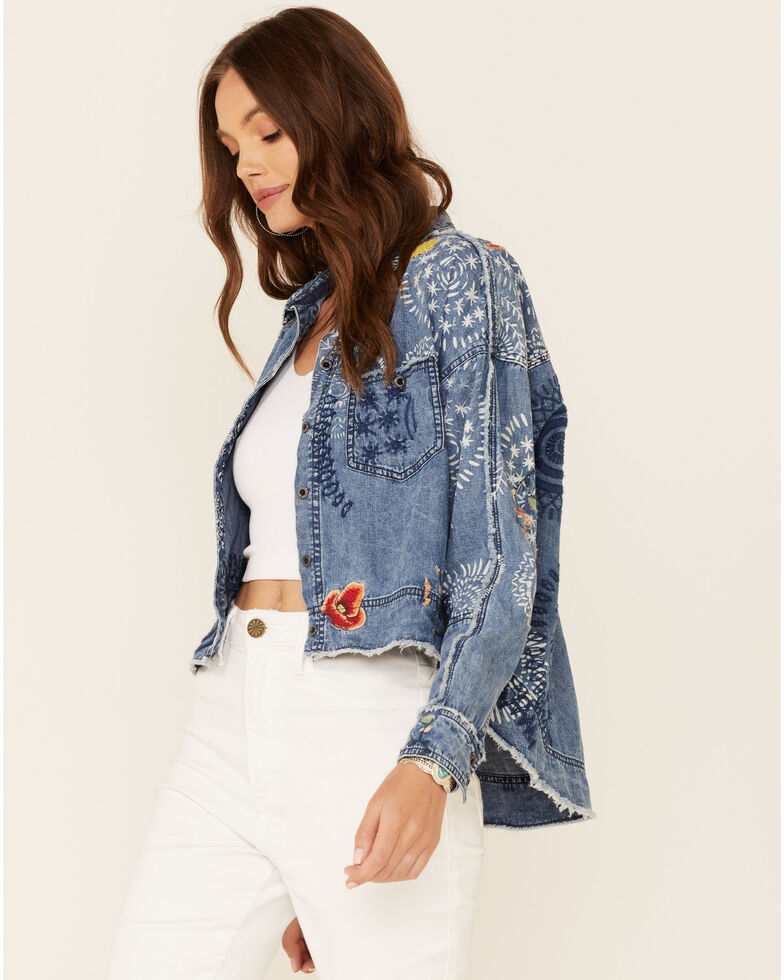 Free People Women's Blue Marrakesh Embroidered Denim Shirt Jacket , Blue, hi-res