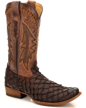 Corral Men's Chocolate Pirarucu Fish Exotic Boots - Square Toe , Chocolate, hi-res