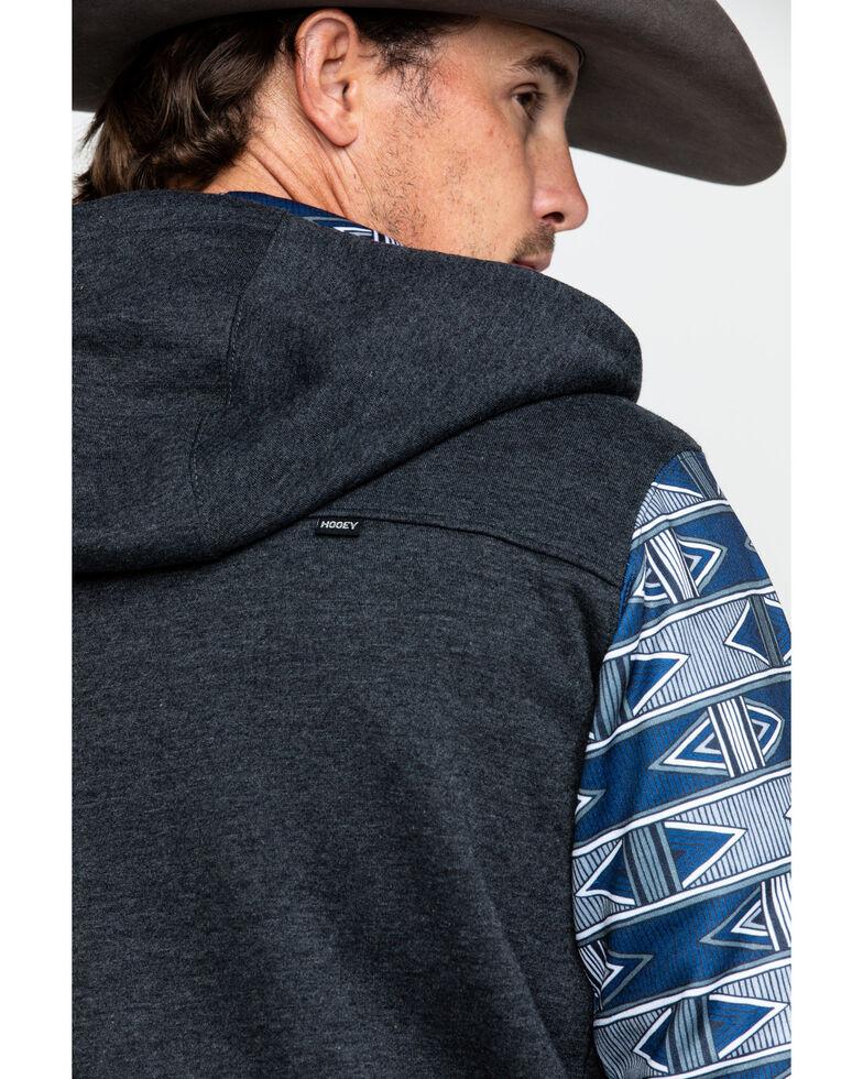 HOOey Men's Terlingua Contrast Aztec Sleeve Zip-Up Hoodie , Grey, hi-res