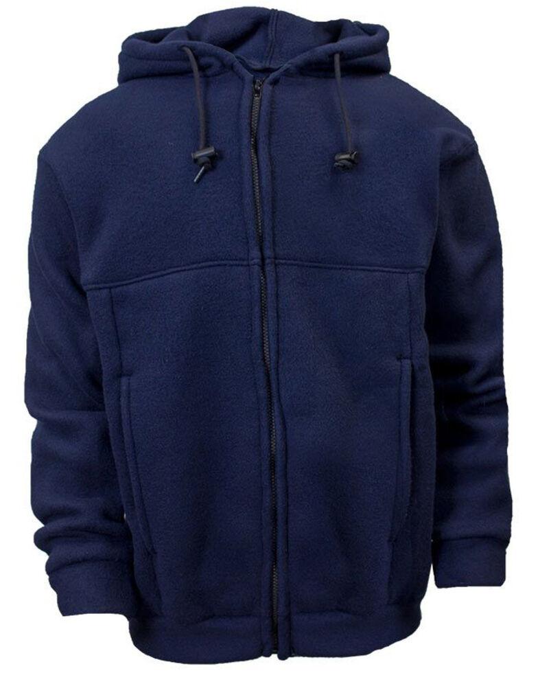 National Safety Apparel Men's Navy FR Fleece Zip Front Hooded Work Sweatshirt , Navy, hi-res