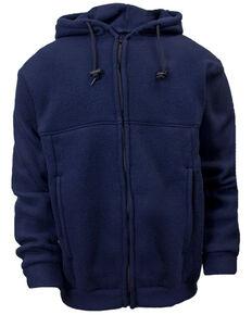 National Safety Apparel Men's Navy FR Fleece Zip Front Hooded Work Sweatshirt - Big , Navy, hi-res