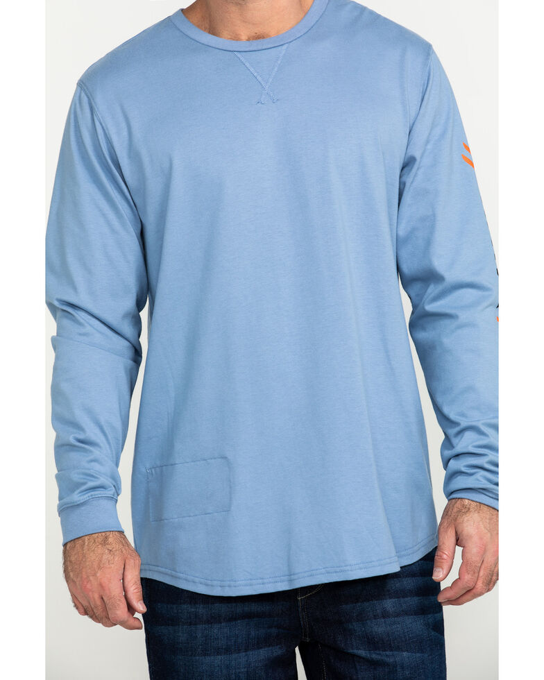Hawx Men's Long Sleeve Logo Work T-Shirt, Blue, hi-res
