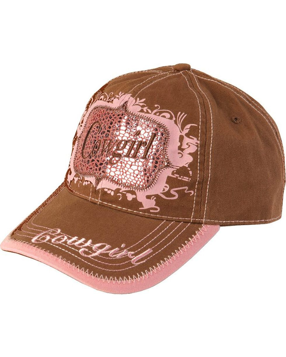 M&F Women's Cowgirl Ball Cap, Brown, hi-res