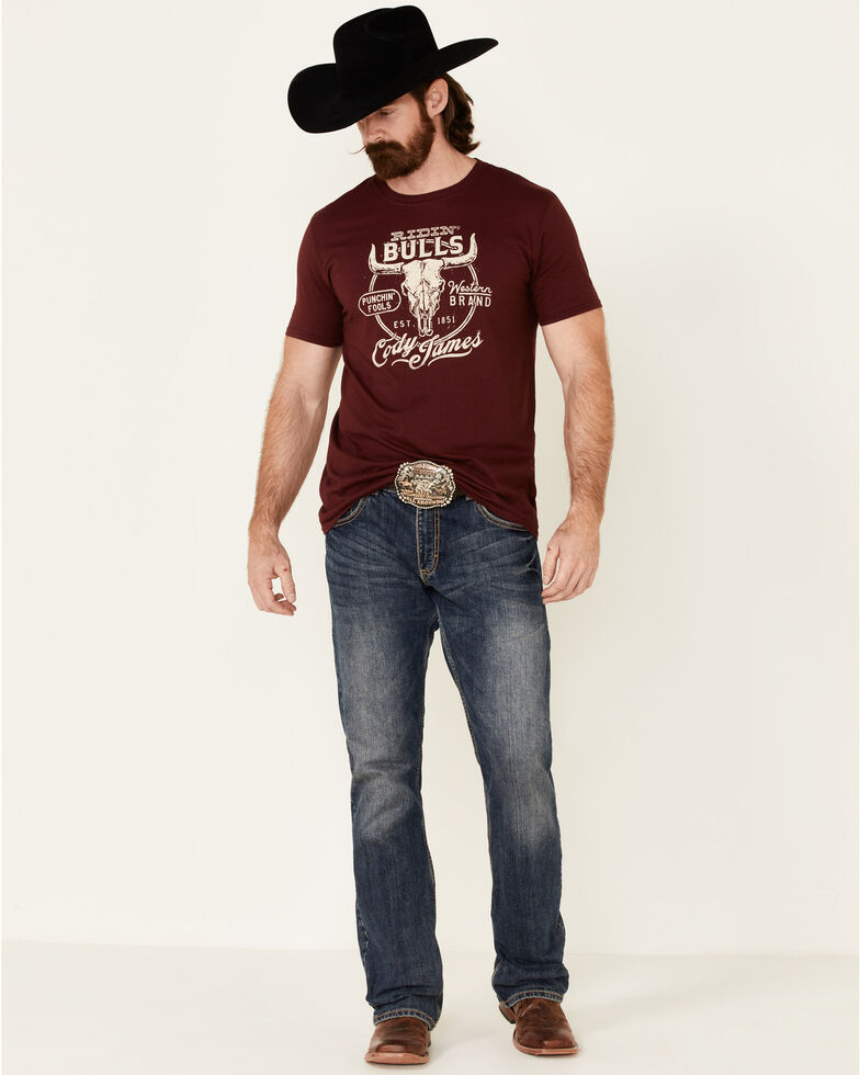 Cody James Men's Ridin Bulls Graphic Short Sleeve T-Shirt , Burgundy, hi-res