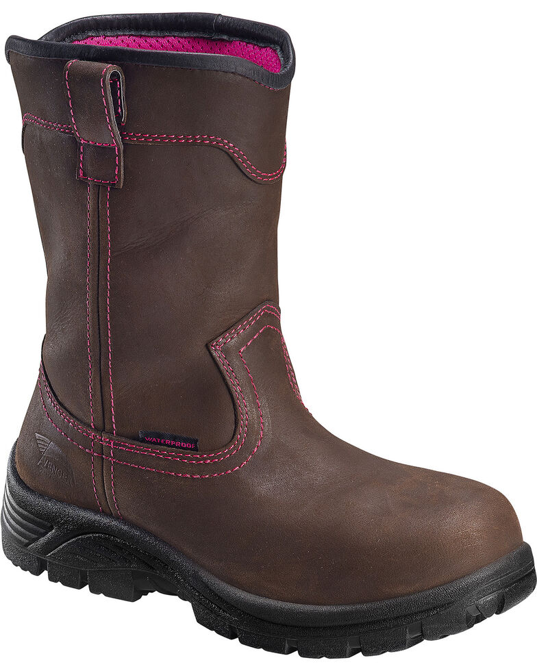 "Avenger Women's Comp Toe 10"" Wellington Work Boots, Brown, hi-res"