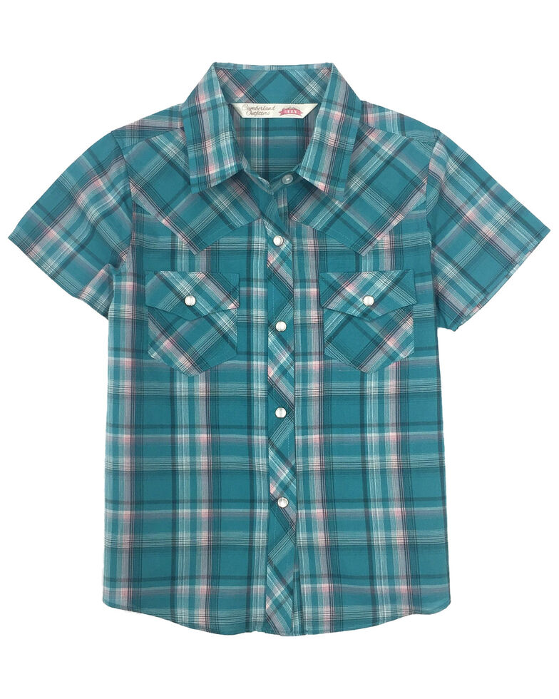 Cumberland Outfitters Girls' Teal Plaid Snap Short Sleeve Western Shirt, Teal, hi-res