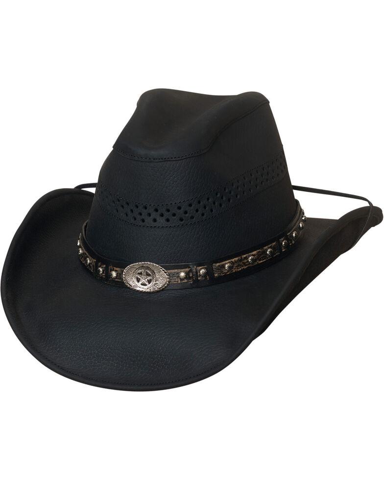 Bullhide Get On Top Grain Leather Hat , Black, hi-res