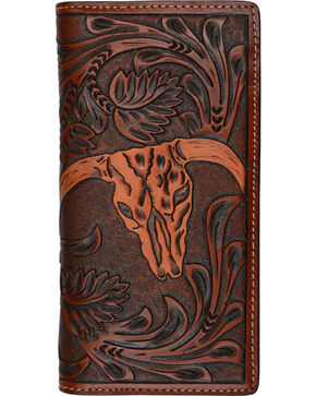 3D Men's Tan Steer Head Western Rodeo Wallet, Tan, hi-res